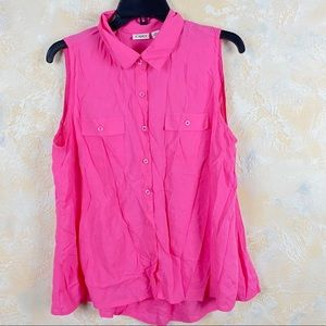 Cato Sleeveless Button Front Blouse Pink Shirt 13